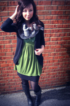 green thrifted blouse - black Forever 21 boots - black Gap tights