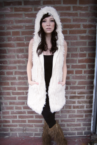 white Kanvas vest - brown Minnetonka boots - black Brooklyn by Delias leggings