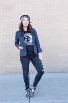 gray Jeffrey Campbell boots - black dcxv t-shirt