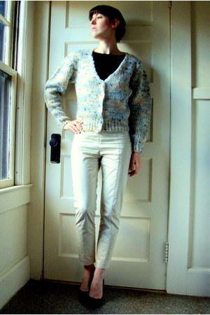 off white vintage cardigan - ivory H&M pants