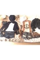 black Primark boots - black Zara jacket - black Primark bag - black H&M shorts