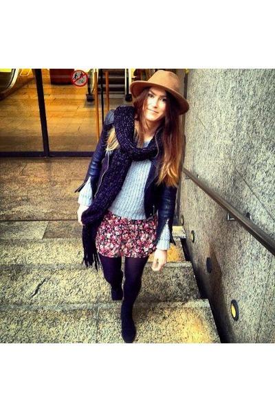 flower print H&M dress - camel Zara hat - silver H&M sweater