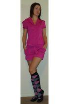 pink jumper shorts - black argile socks