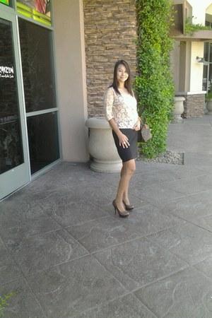 Louis Vuitton purse - black skirt MaxMara skirt