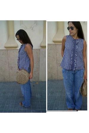 Primark bag - Lee jeans - Topshop blouse - Mango sandals - rayban glasses