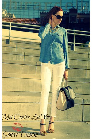 Topshop blouse - Sonas Denim jeans - JustFab bag - Oscar de la Renta sunglasses