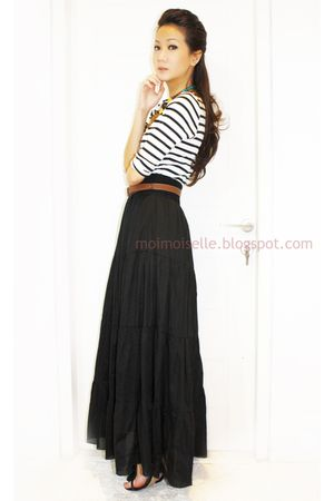 white Zara top - black Zara skirt - brown Zara belt - black Charles & Keith shoe