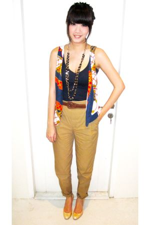 blue Topshop top - blue Zara vest - brown Zara pants - black Topshop necklace -