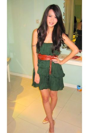 green Zara dress - beige Christian Louboutin shoes - brown Zara belt