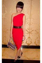 red Body & Soul dress - black Christian Louboutin shoes