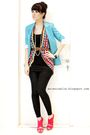 Blue-topshop-blazer-forever21-vest-black-topshop-dress-black-zara-leggings