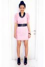 Pink-monaco-dress-black-aldo-shoes-black-mango-belt-black-topshop-necklace