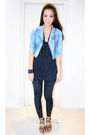 Blue-kochi-jacket-black-zara-top-black-mango-leggings-black-steve-madden-s