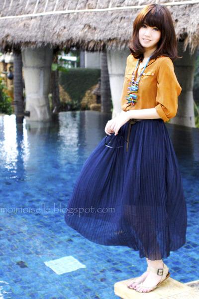 camel Topshop shirt - navy sheer skirt