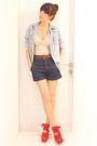 Beige-topshop-dress-blue-zara-jeans-red-topshop-blue-topshop-shirt