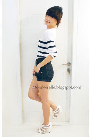 white DJODY top - blue Topshop shorts - white Topshop shoes - white
