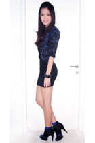 black Forever 21 dress - black Topshop jacket - black Aldo shoes - blue socks -