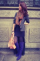 black leather Zara jacket - navy boots - Zara scarf - peach balenciaga purse