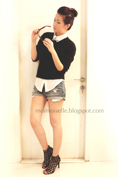 black Zara sweater - black bangkok shoes - blue denim cutoffs Zara shorts