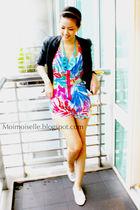 black Zara jacket - blue Topshop dress - white Topshop shoes