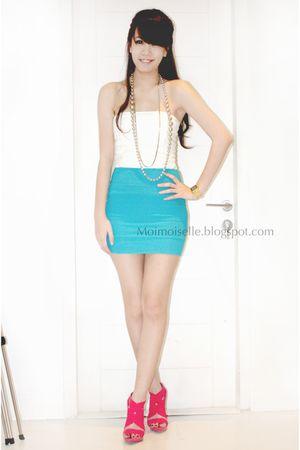 blue Topshop skirt - pink bandage Zara shoes - white Topshop top