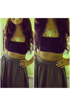 heather gray skirt - necklace - eagle ring
