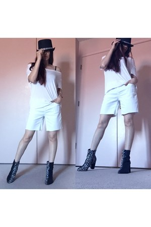 black glitter ankle boots - white hat - white thrifted shorts