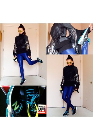 black omni shield jacket - blue faux leather leggings - black sneakers