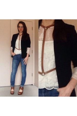 tawny jakimac harness vest - black basic blazer - ivory sheer lace top