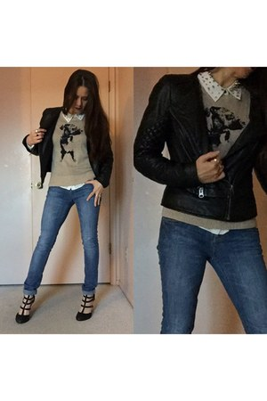 jeans - black asos jacket - beige sweater - white blue dog shirt