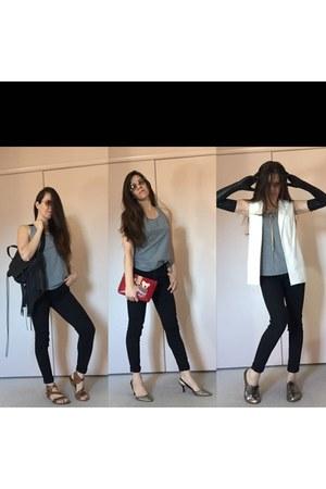 silver sam edelman shoes - black fringe backpack bag