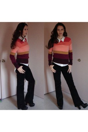 maroon striped sweater - black Dolce Vita boots - white shirt