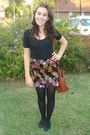 Black-passion-t-shirt-sequined-skirt-brown-vintage-accessories
