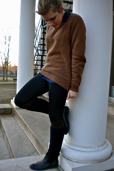 Brown Lands End Sweaters, Navy J Crew Shirts, Black Forever 21 ...