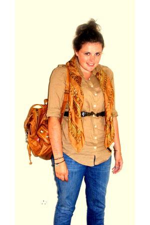 Diesal bag - Zara jeans - Topshop shirt - Topshop scarf