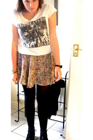 black H&M bracelet - white Topshop t-shirt - Topshop skirt - black Primark boots