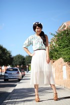 white Mumu Home skirt - burnt orange H&M belt - aquamarine asos blouse