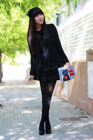 black bought in Shanghai dress - black Zara blazer - black Calzedonia tights - b