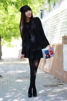 black bought in Shanghai dress - black Zara blazer - black Calzedonia tights - b