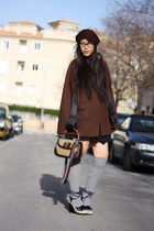 dark brown Cortefiel coat - dark brown By my mother hat - tan Gucci bag - silver