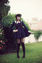 black Spirited Away dress - black asos shoes - mustard Alice et June hat