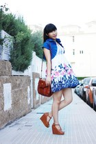 blue bought in Shanghai dress - dark brown Misako bag