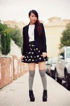 black Jeffrey Campbell boots - black Zara blazer - black asos shorts