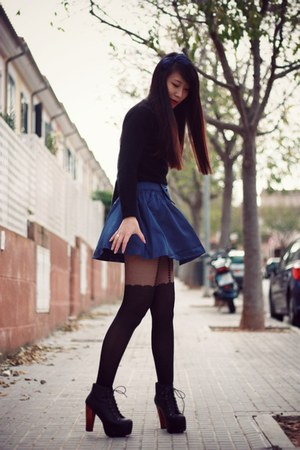 blue pepa loves skirt - black Jeffrey Campbell boots - black asos tights