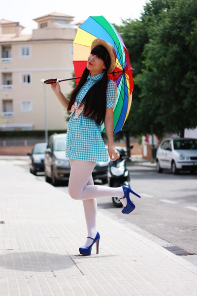 blue Topshop heels - sky blue BLANCO dress - light yellow Alice et June hat