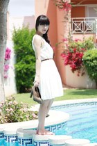 white H&M dress - white H&M belt - light brown Marypaz pumps