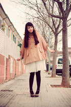 tan Spirited Away coat - white H&M dress - brown Forever21 heels