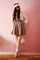 white Momo House socks - camel Stradivarius skirt - white Bimba & Lola blouse -