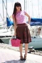 bubble gum Zara blouse - dark brown bought in Shanghai skirt - dark brown Sfera