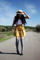 light orange Alice et June hat - heather gray condor tights - gold Mango skirt -